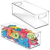 mDesign Juego de 2 organizadores de juguetes – Juguetero grande con asas de plástico robusto – Caja organizadora para guardar juguetes y manualidades en el cuarto infantil – transparente