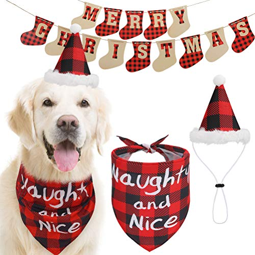 Christmas Dog Bandanna with Hat and Banner - Xmas Red Plaid Costume, Cute Pet Naughty and Nice Scarf with Party Hat and Flag Decoration