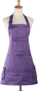 Boshiho Adult Painting Aprons Barber Apron with Pockets for Women/Men / Unisex, Utility or Work Apron (Purple)