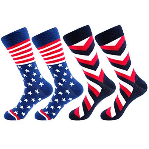 LUOEM Calcetines para Hombre con Bandera Americana Calcetines con Bandera de EE. UU. Calcetines Deportivos para Hombre Calcetines Divertidos de Algodón Unisex 2 Pares (Negro + Azul)