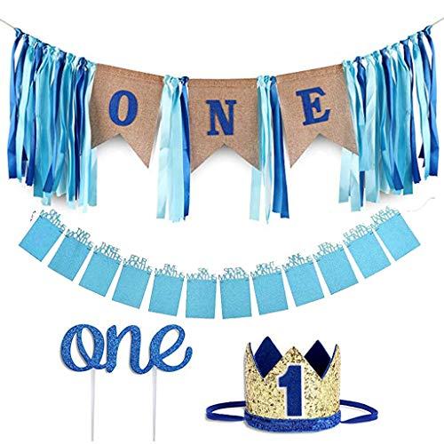 Amycute 1. Geburtstag Dekorationen für Jungen, Baby First Birthday Blue Chair Banner ,1st Birthday Banners ,Partyhüte, Geschenk Dekoration zum Erstes Jahr Geburtstag Babyparty.