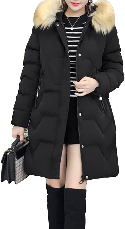 LINGMIN Women's Fur Collar Midi Coats Loose Front Zip Outwear Coat with Zip Pockets