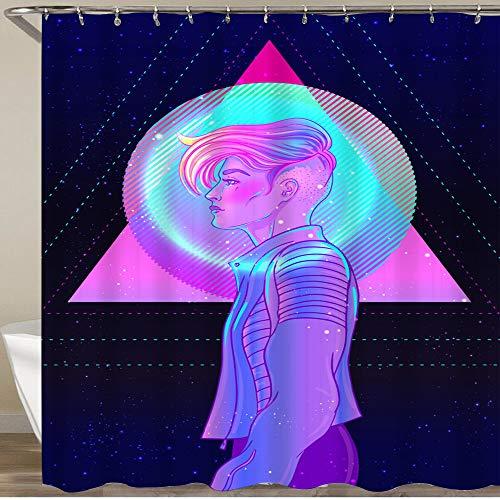 "KGSPK Shower Curtain,pretty androgynous woman short shaved pixie undercut retro futurism style,Waterproof Durable Polyester Fabric Home Dorm Decor Bath Curtains Bathroom Bathtub Hooks Included 72""x72"""
