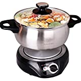 2.5L Liven Hot Pot Electric with Separated 304 Stainless Steel Pot Body and Adjustable...