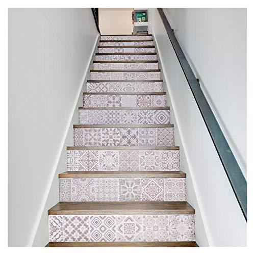 WENYOG Escaleras Pegatinas Pegatinas de Pared de Azulejos de patrón 3D PVC extraíble Papel Tapiz Impermeable de cerámica Cartel de cerámica para la decoración de la Escalera del hogar