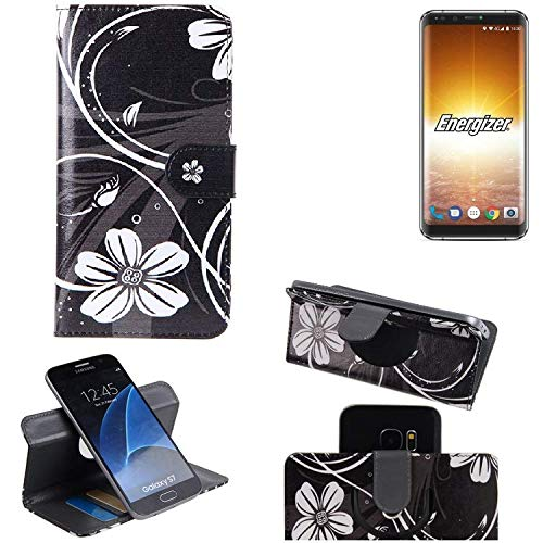 K-S-Trade Schutzhülle Für Energizer P600S Hülle 360° Wallet Hülle Schutz Hülle ''Flowers'' Smartphone Flip Cover Flipstyle Tasche Handyhülle Schwarz-weiß 1x