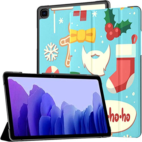 Case for Samsung Galaxy Tab A7 10.4 Inch Tablet 2020(sm-t500/t505/t507),Christmas Photo Booth Props Santa Hat and Beard Multiple Angle Stand Cover with Auto Wake/Sleep