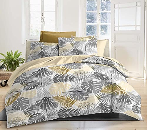 Best Interior - Juego de sábanas de algodón Podoma – Amarillo, 160 x 200 cm