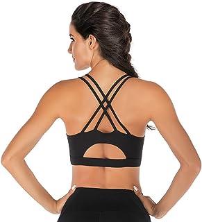 lureme Sports Bra Workout Strappy Bra Padded Sports Yoga Bra for Women (sb000001)