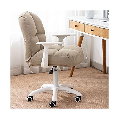 Leinen Home Office Stuhl Ergonomischer Schreibtischstuhl mit Lordosenstütze, Rollstuhl Schreibtischstuhl für Computer, Verstellbarer Drehstuhl im Arbeitszimmer