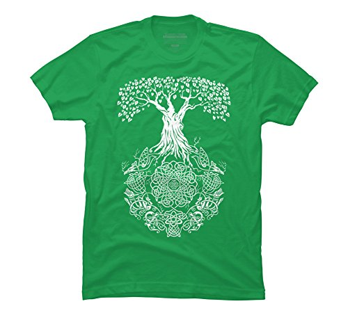 Design By Humans Yggdrasil Tree of Life Men's Large Kelly Green Graphic T Shirt