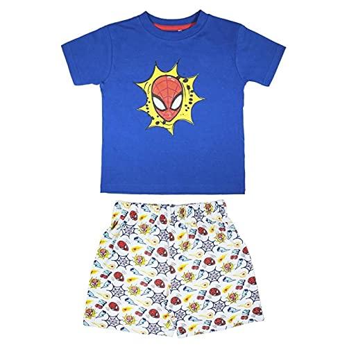 Cerdá Pijama Niño de Spiderman-Camiseta + Pantalon de Algodón Juego, Azul Marino, 3 años para Niño