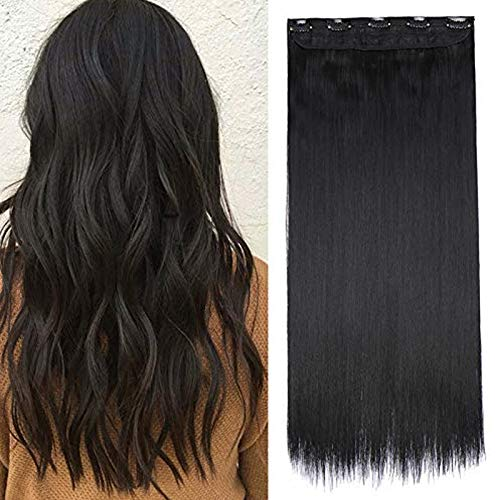 Extension Cheveux Monobande Lisse Une Pièce Extension A Clip Cheveux Synthétique Raide Rajout Cheveux A Clip - 23 Pouces, Noir Foncé