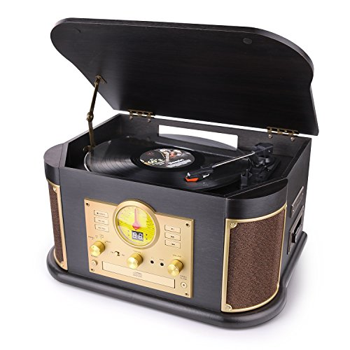 Bluetooth Record Player, dl Vintage Turntable 3-Speed Vinyl Record Player with 2x9W Speakers/CD/Cassette Tape/FM Radio/USB & Encording/SD Card/Aux in Record Player
