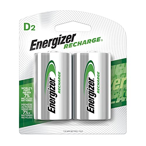 Energizer Rechargeable D Batteries, NiMH, 2500 mAh, 2 count (NH50BP-2) Green and Silver