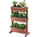 GIANTEX Aiuola rialzata in legno di abete, con 3 fioriere verticali, per giardino, terrazzo, balcone, fioriera regolabile, marrone