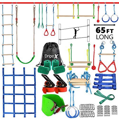 Ninja Warrior Hinderniskurs für Kinder, 2 x 20 m längste Ninja-Slackline mit komplettem Zubehör für Kinder, Schaukel, Trapezschaukel, Seilleiter, Hindernisnetz plus 1,2 m Armtrainer