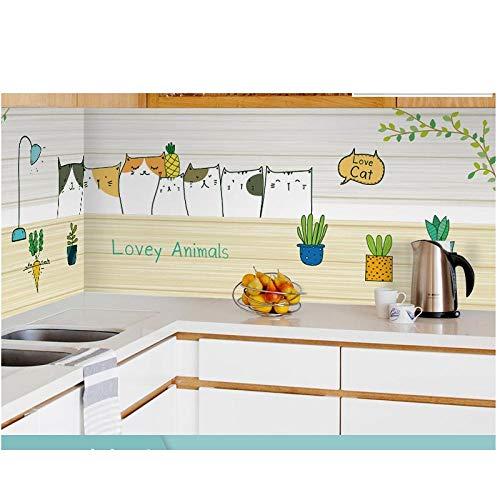 Ölbeständige Aufkleber für Küchen, Hochtemperaturaufkleber für Wände, wasserdichte Fliesentapeten für Schränke, Dunstabzugshauben, ölabsorbierendes Papier, selbstklebendes Papier-A13_200cm*60cm