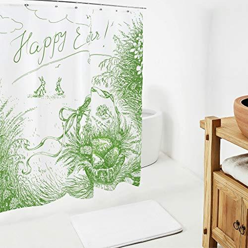 Zhcon Pasen konijn patroon douchegordijn met gratis haken lange wasbare badkamer Decor bad gordijnen