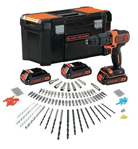 BLACK+DECKER BDCHD181B3A-QW Perceuse à percussion sans fil - 40 Nm - 21 000 cps/min - 2 vitesses - 120 accessoires - Livrée en boite à outil, 18V, Noir/orange, 3 Batteries