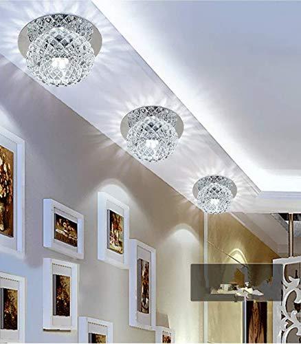 5W LED Deckenleuchte Modern Unterputz Einbauleuchte Beleuchtung Decken und Wandleuchte Spots Kristall Runde Effekt Lampe für Flur, Vorraum Ø 12CM [Energieklasse A+] (kaltes Weiß)