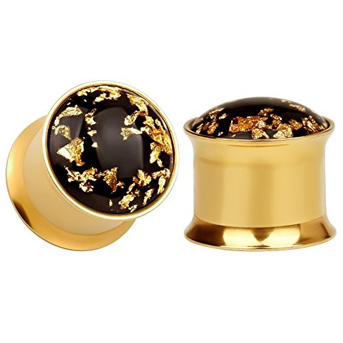 KUBOOZ (1 Paar) Einfache Goldene Gold-Folie Ohrstöpsel Tunnel Messgeräte Keilrahmen Piercings9/16
