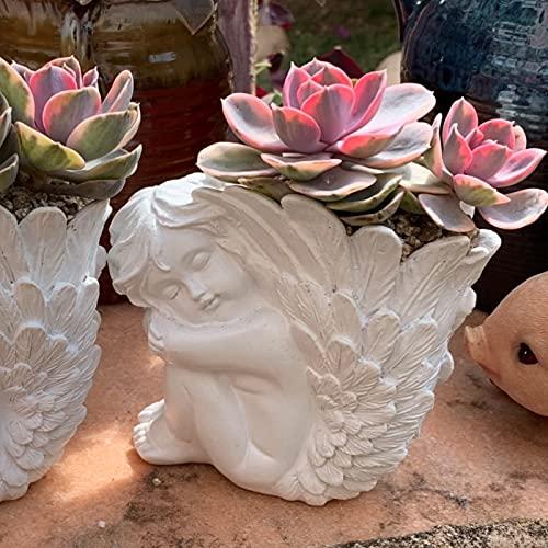 PPuujia Maceta Little Angel Flower Pot Jarrón Flor Suculenta Boddesa Little Fauna Alas Grandes Europeas Retro Retro Montón Decoración
