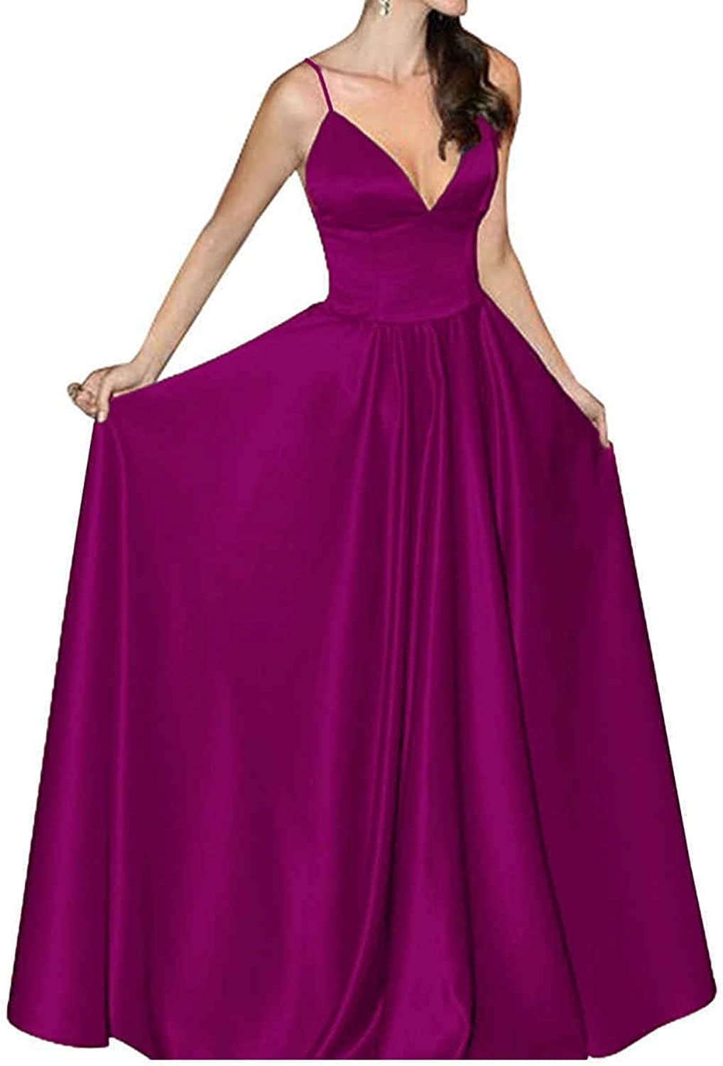 JQLD Womens V Neck Satin Evening Prom Dress Long Spaghetti Strap Homecoming Gown