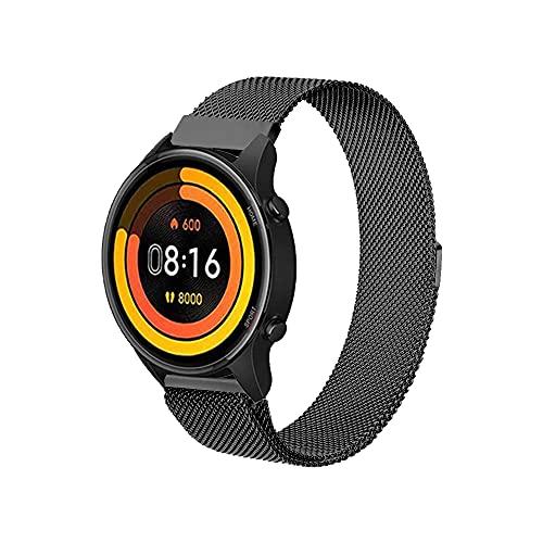 PaceBid Correa Compatible con Xiaomi Mi Watch, Correa de Acero Inoxidable, Correa de Malla Ajustable, Magnético Pulsera para Mujeres y Hombres para Xiaomi Mi Watch-Black