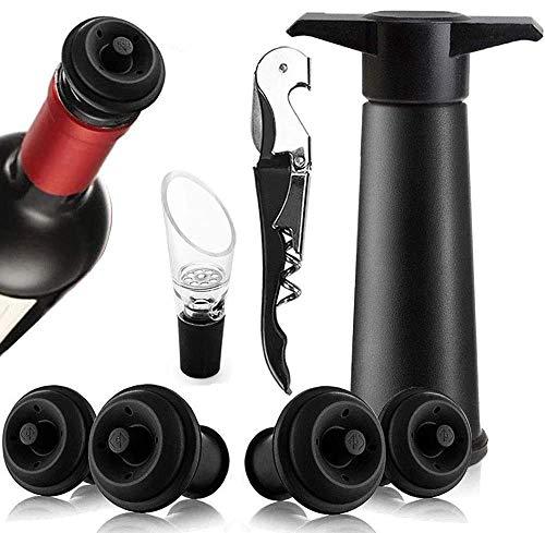 Queta Weinpumpe - Weinkonservierungs-Vakuumpumpe - 1 Schwarze Pumpe + 4 Kappen für die Vakuumpumpe + 1 Tropfschutzgießer + 1 Korkenzieher
