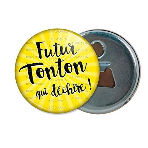 Décapsuleur Aimanté Magnet Futur Tonton Qui Déchire - Fond Jaune - Humour Annonce Naissance Bébé Ouvre Bouteille Refrigerateur