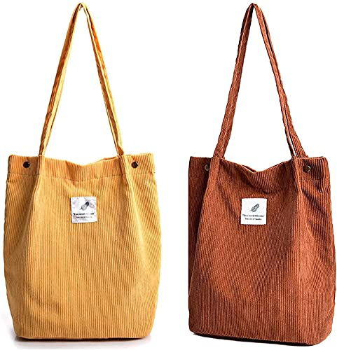 xqkj Bandolera para mujer – 2 bolsos de pana para mujer, bolso de hombro para la vida cotidiana, oficina, excursión al colegio y compras., color Amarillo, talla Small