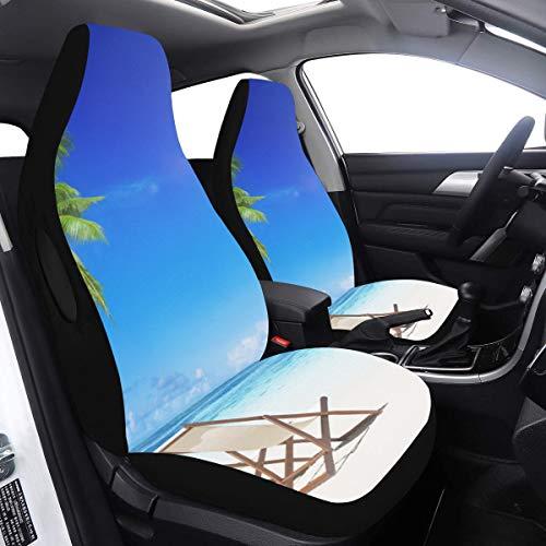 Fundas de asiento de coche pequeñas para silla de playa en la playa blanca Fundas de asiento de bebé para niñas 2 piezas de airbag de ajuste universal compatibles con fundas de asiento de auto