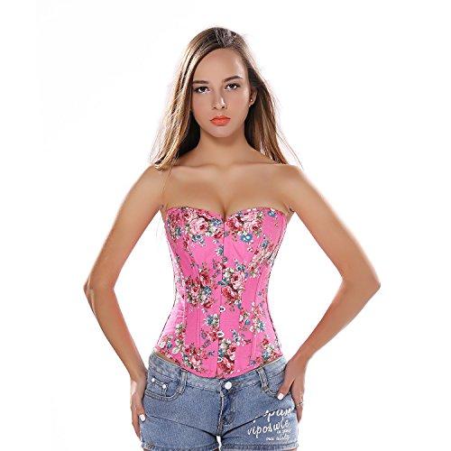 jutrisujo Corsetto Donna Bustino Fiori Corsetto Top Sexy Gotico Elegante Vittoriano Burlesque Halloween Rosa XL