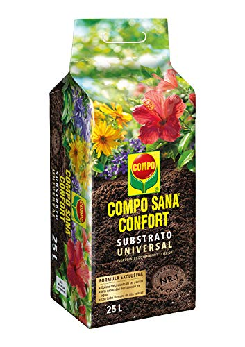 Compo Sana Confort Universal Substrato de calidad para macetas con 12 semanas de abono para plantas de interior, terraza y jardín, 50{bda583b776049d43eefbbbad42f7d408fae7a9ff201421a849636eb66573f392} menos de peso, Substrato de cultivo, 25 L, 1114604011