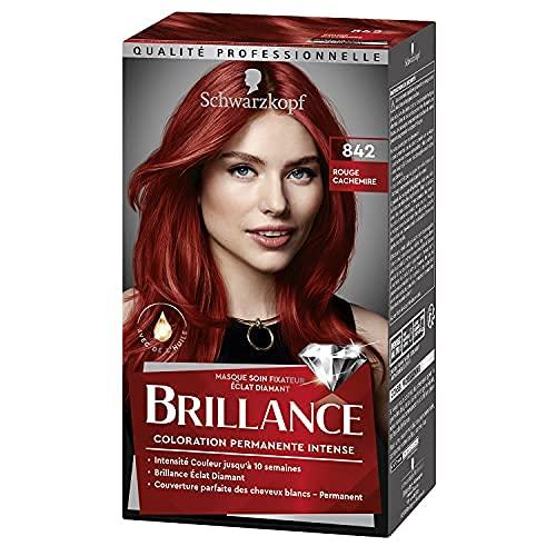 Schwarzkopf - Brillance - Coloration Cheveux Permanente Intense - Avec de lHuile - Couvre 100% des Cheveux Blancs - Rouge Cachemire 842