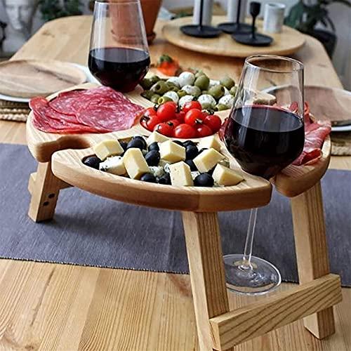 DFYOP Mesa de picnic plegable de madera para exteriores, mesa de picnic portátil, mesa de picnic portátil, estante para copas de vino, mesa de vino para alimentos al aire libre, jardín, viajes