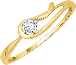 Size-3.5 1//10 cttw, G-H,I2-I3 Diamond Wedding Band in 10K Yellow Gold