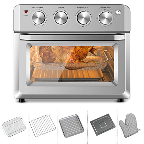 ARLIME 19QT Air Fryer Toaster Oven Multi-function 7-in-1 Convection Oil-Free Countertop Oven, Stainless Steel Air Fryer Oven with Timer, Temperature Control & Large Glass Window, 1550W Air Fryer with Non-stick Fry Basket, Baking Pan & Rack, Drip Tray & Oven Mitt