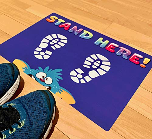 """Social Distancing Floor Decals for Kids, Elementary Schools, Day Care, & Classrooms - Stand Here Safety Floor Stickers 12' x 18"""" Removable Vinyl Decal (5 per Pack)"""