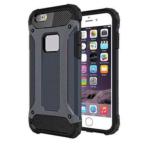 Funda protectora resistente y flexible Tough Armor está diseñada para iPhone 6 Plus 6s Funda protectora combinada TPU + PC con todo incluido (Color: Azul oscuro)