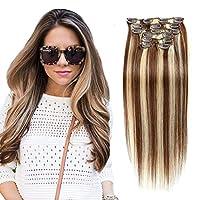 ブロンドと混合Balayageヘアエクステンションオンブルブラウンレミーの髪70Gram 7PCS 16Clipsテープでヘアエクステンション人毛ブラウン髪の拡張テープでテープ,16Inch
