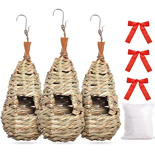 BRITEREE Hummingbird House for Outside Nesting, with Nest Globe, Set of 3, Hanging in Garden Winter
