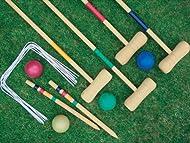 Hillington 4 PLAYER COMPLETE WOODEN OUTDOOR GARDEN CROQUET SET MALLET BALLS TOY FUN