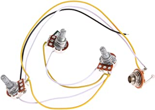Awakingdemi 1 Set Wiring Harness-Prewired 2V1T1J for Bass Guitar with 3-500k Pots