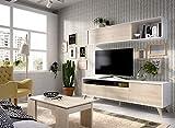 LIQUIDATODO  - Salón nordico 180 cm moderno y barato en natural y blanco brillo