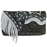 Zelris Women Crossbody Wallet Turquoise Concho Suede Fringe Two Tone Cowgirl Trifold Open (Black Silver)