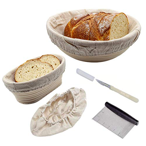 Banneton bread Proofing Basket set Emporoi 10 inch Round & 8 inch Oval Sourdough proofing basket kit with dough scraper + bread lame scoring tool + washable linen cloth liner for baking bread