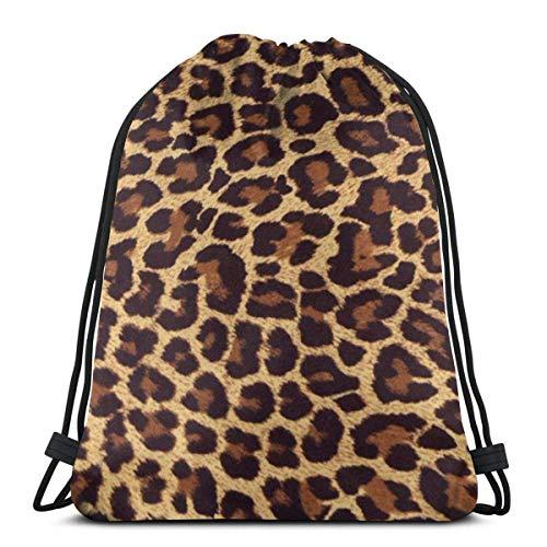 orangefruit Women Men Teen Leopard Print Drawstring Bags Gym Bag For School Hiking Yoga Gym Swimming Travel Beach 36x43 cm