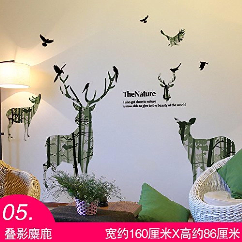 Znzbzt self-Adhesive Decorative Wall Sticker Art Creative Wall Art Frame Wall Paper Wall Mount, Elk